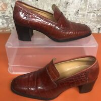 Bertie Leather Pump Court Snake Print Oxblood Chunky Heel Womens Rust UK 6 39