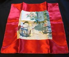 Beautiful Thai Silk Tapestry W/Red Silk Decorative Throw Pillow Cover~Case
