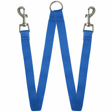 Blue Double Dog Pet Lead Leash Splitter Y 1 to 2 Coupler with Clip for Collar