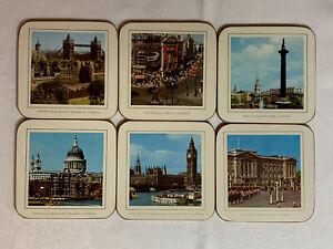 Set of 6 Cork London England Souvenir Coasters Tower Buckingham Big Ben Vintage
