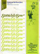 "1974 Stretch & Sew Ann Person Pattern # 890 ""Children's Tab Front Shirt"" 8-10-12"