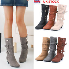 Women Ladies Mid Calf Pointed Toe Soft Boots Low Heel Double Buckle Shoes Size