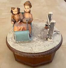 Vintage Anri Thorens Music Box Couple in Sleigh Lara's Theme Switzerland Works