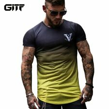 Gradient color 3D Printed Quick Dry Compression Men's T-Shirts Running Shirt