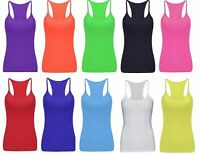LADIES CASUAL NEON VEST TOP STRETCHY LYCRA RACER CAMI TOPS FANCY DRESS UK 8-16