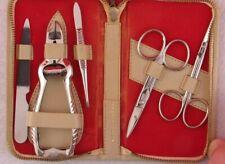 Rare Vintage Clauss Manicure Pedicure Kit Set Leather Case Scissors Clipper Usa