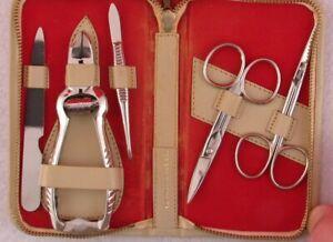 Vintage Rare Clauss Manicure Pedicure Kit Set Leather Case Scissors Clipper USA.