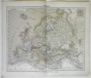 Europe Belle Epoque Germany France Austria 1874 Flemming detailed large map