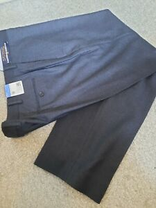 M & S Saville Row Inspired Luxury Navy Blue Pure Wool Trousers 40 S NWT RRP £119