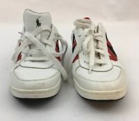 POLO Ralph Lauren Men's Vandan Sneaker White Red Black Leather RL 67 SZ 10.5D