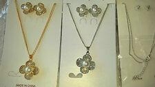 Joblot 12 PZ Faux Pearl & Diamante Set Ciondolo E Orecchini Nuovo all' ingrosso lotto 2