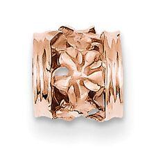 14 KT Rose Gold Diamond-Cut Plumeria Filigree Barrel Chain Slide NEW