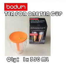 BODUM TEA FOR ONE TEA CUP INFUSER WITH DOUBLE WALL GLASSES.12OZ/350ML (4 COLORS)