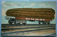 134. Exaggerated Postcard of Giant Ear of Corn on aN.Y.C. & HR. Railroad Car