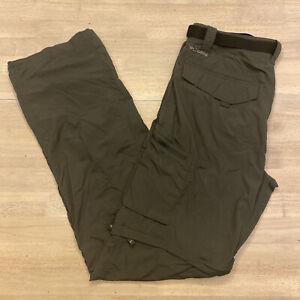 Mens Columbia Omni-Shade Convertible Hiking Cargo Pants Size 34x34 Green