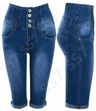 Womens High Waist Denim Pedal Pusher Shorts NEW Size 8 10 12 14 16 Blue