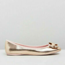 Ted Baker London Womens Immet 2 Ballet Flats US 5 Rose Gold Pebbled Leather Bow