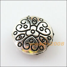 4 New Charms Round Flower Heart Flat Spacer Beads 17.5mm Tibetan Silver