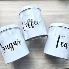 Personalised Marble Tea Coffee Sugar Canisters Metal Tin Kitchen Storage