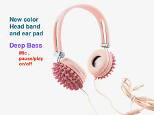 Blingustyle new design Bling Pink Spike Fashion Ear-Cup headphone with Mic gift