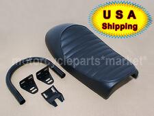USA Black Hump Cafe Racer Seat Saddle Vintage w/ Frame 230mm sear Hoop Loop CB