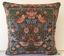 William Morris Inspired Birds Face To Face Tapestry Pillow NWT