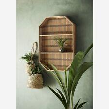 Retro Bamboo Wall Hung Shelf, Mid Century Modern Shelving Display Unit Shelves