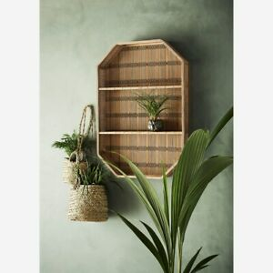 Retro Bamboo Wall Hung Shelf, Mid Century Modern Shelving Display Unit Shelves