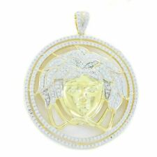 Mens 14k Yellow Gold Over Solid 925 Sterling Silver Icy Medusa Diamond Pendant