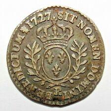 Louis XV  RARE 44000ex! 1/20 eme d'Ecu 1727 R Orléans