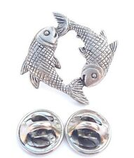 Pisces Star Sign Handcrafted in Solid Pewter in Uk Lapel Pin Badge