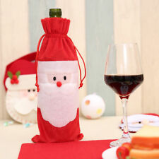 UK Christmas Wine Bottle Cover Cloth Santa Claus Cap New Year Gift Bag Holder