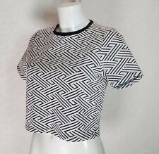 TOPSHOP textured Black White Aztec High neck short sleeve Fitted top blouse 10