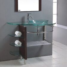 "36"" Wide Contemporary Bathroom Vanity Glass Vessel Sink Combo LV-008R"
