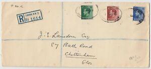1936 *KED VIII* set of 3 on registered FDC *EUSTON ROAD-CHELTENHAM*