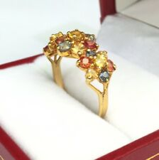 14k Solid Gold Yellow Gold Three Flowers Ring Natural Color Sapphire, Sz 7.