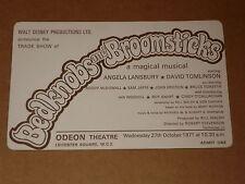 "Disney's ""Bedknobs And Broomsticks"" 1971 UK Trade Show Ticket (Angela Lansbury)"