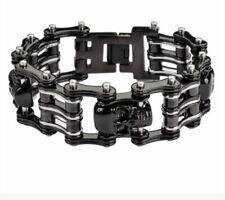 "Mens Stainless Biker Harley Black Silver Motorcycle Chain Bracelet Jewelry 9"""