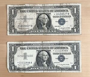 1957A and 1957B Blue Star $1 Silver Certificates