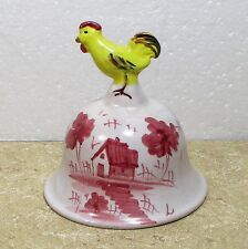 "Italy pottery bell hand painted chicken handle 3.75"" � u1"