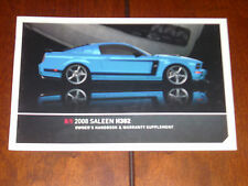 2008 SALEEN OWNERS MANUAL HANDBOOK H302 FORD MUSTANG