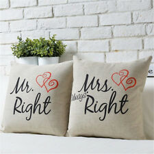 2Pcs Mr Mrs Cotton Linen Room Pillow Case Couple Lovers Cushion Cover 18 Inch