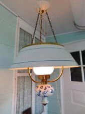 vintage metal porcelain blue white chandelier ceilng fixture antique french lamp
