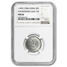 1890-1908 China Silver 20 Cent Kwangtung MS-64 NGC