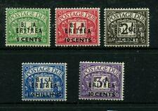 ERITREA overprints #J6 - J10 * mint hinged Cat Value $74 - stamps