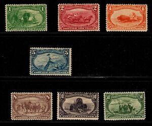 US #285-291 1893 1c-5c, & 10c Trans-Mississippi. Unused OG/NG. CV $1,143. KP-026