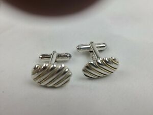 TIFFANY CUFFLINKS  18K GOLD / STERLING  GOLD ROPE STYLE   VINTAGE