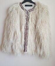 ZARA FEMME ECRU texturé/fausse fourrure veste avec bande BNWT Taille S ref. 2753/230