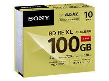 10 Sony Blu Ray 100 GB BDXL Discs BD-RE BDXL 3D Bluray Triple Layer Bluray Discs