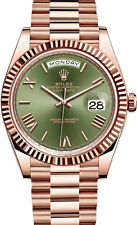 Rolex Day Date President 40mm 18kt Rose Gold Olive Green Roman Dial 228235 3255